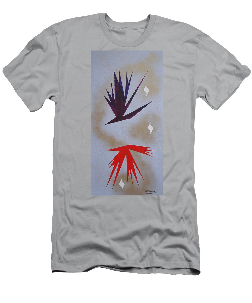 Birds Men's T-Shirt (Athletic Fit) featuring the painting Mating Ritual by J R Seymour