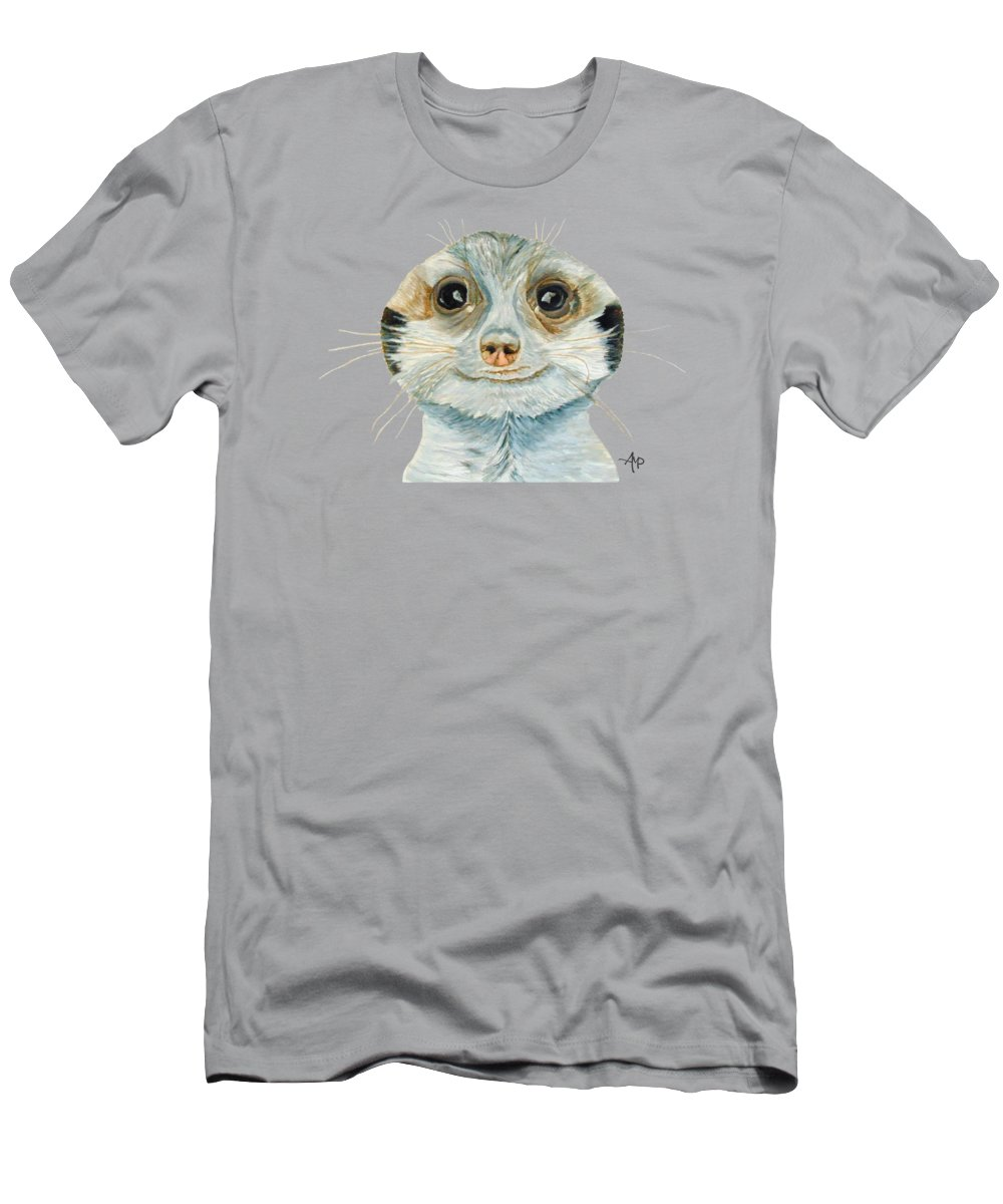 Suricate Men's T-Shirt (Athletic Fit) featuring the painting Meerkat by Angeles M Pomata