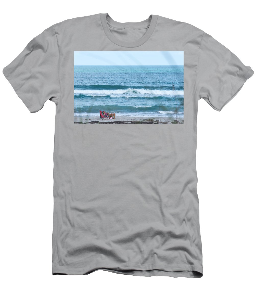 Melbourne Beach Men's T-Shirt (Athletic Fit) featuring the photograph Melbourne Beach Florida On The Phone by JG Thompson