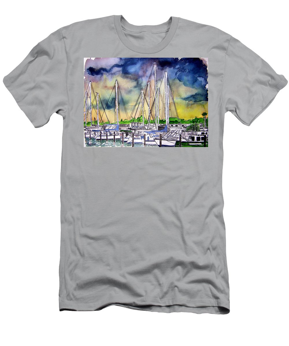 Boat Men's T-Shirt (Athletic Fit) featuring the digital art Melbourne Florida Marina by Derek Mccrea