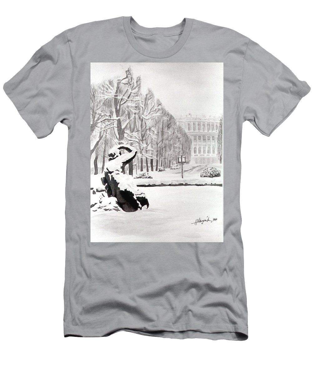 Men's T-Shirt (Athletic Fit) featuring the painting Memorial Schoenbrunn by Johannes Margreiter