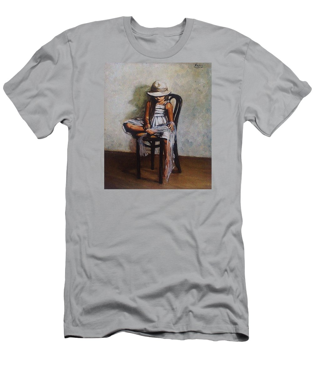 Girl Men's T-Shirt (Athletic Fit) featuring the painting Memories by Natalia Tejera