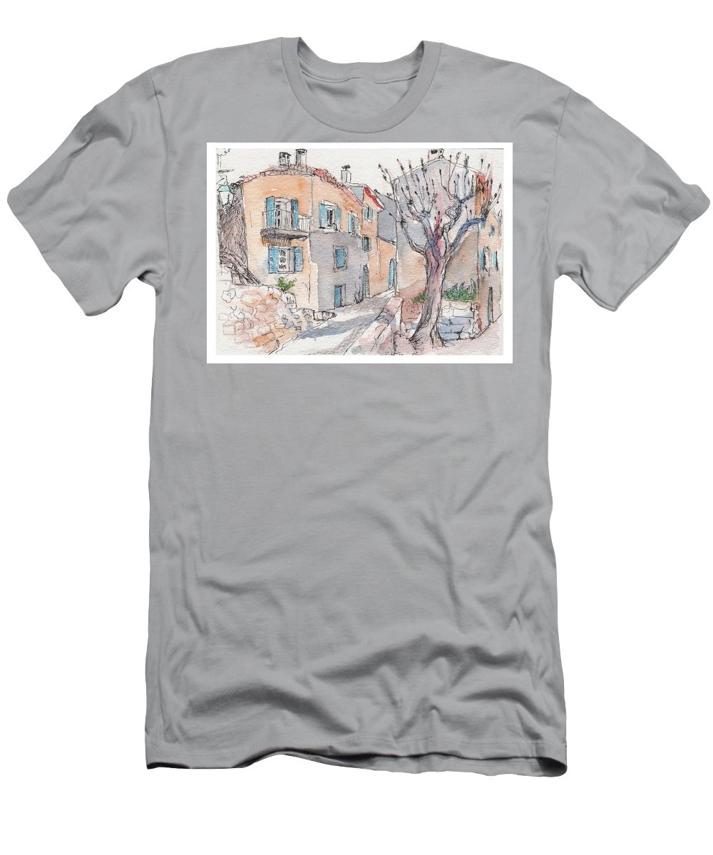 France Men's T-Shirt (Athletic Fit) featuring the painting Menerbes by Tilly Strauss
