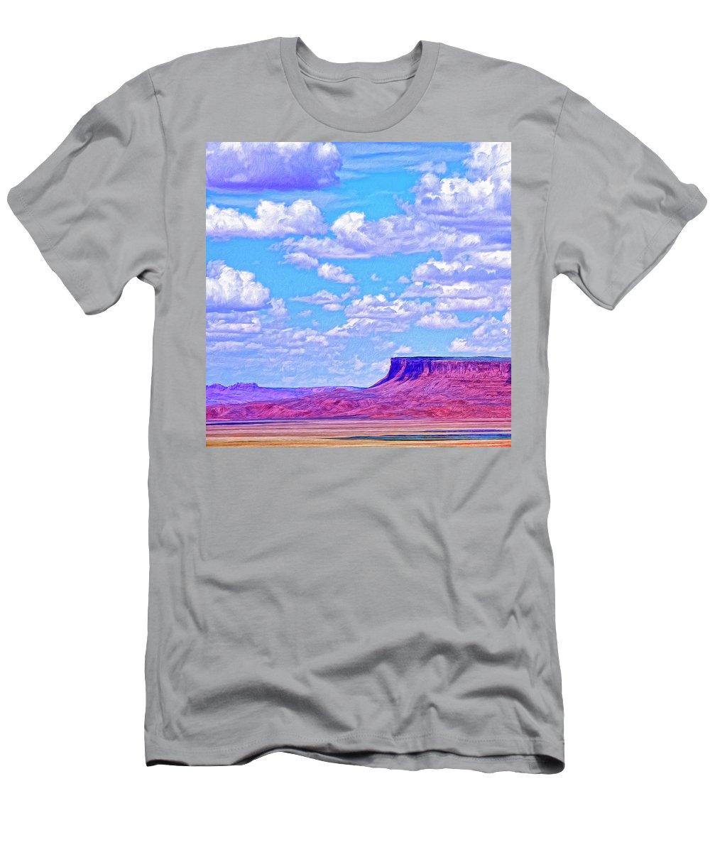 Mesa At Vermilion Cliffs Men's T-Shirt (Athletic Fit) featuring the painting Mesa At Vermilion Cliffs by Dominic Piperata