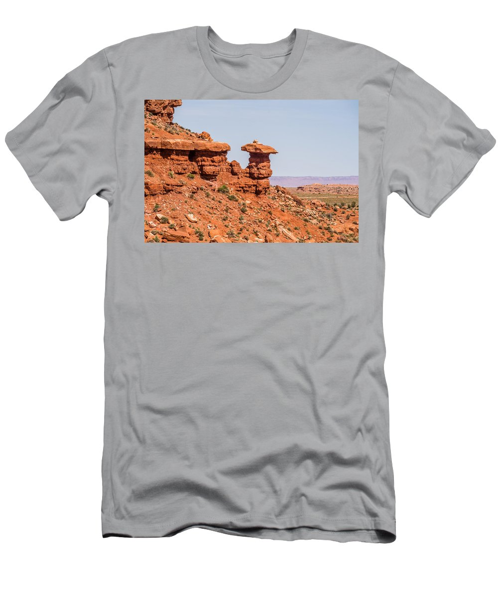 Mexican Men's T-Shirt (Athletic Fit) featuring the photograph Mexican Hat Rock Monument Landscape On Sunny Day by Alex Grichenko