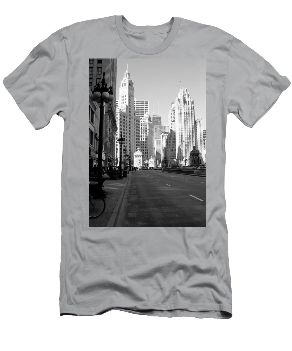 Chicago Men's T-Shirt (Athletic Fit) featuring the photograph Michigan Ave Tall B-w by Anita Burgermeister