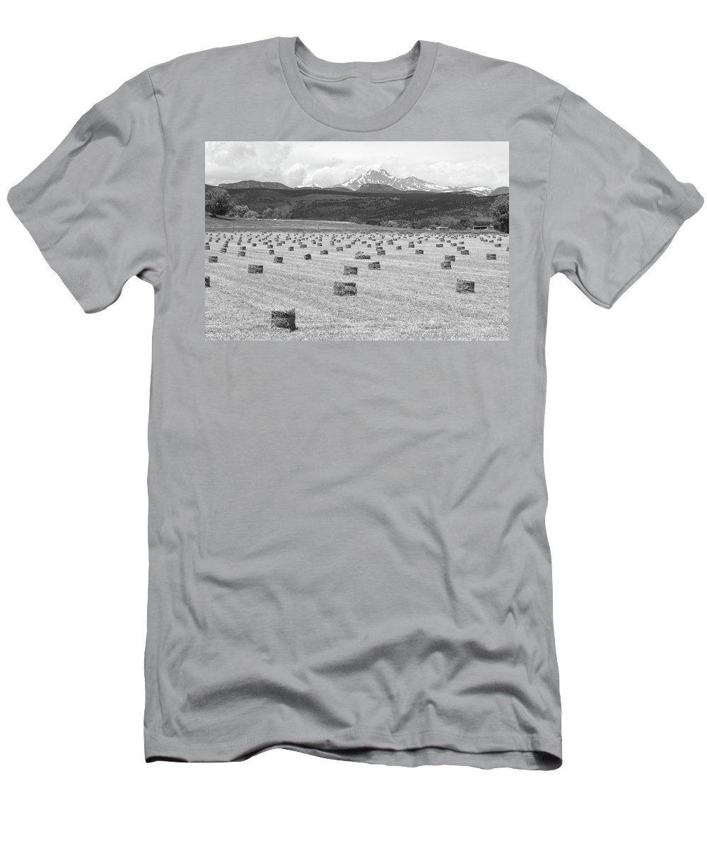 Country Men's T-Shirt (Athletic Fit) featuring the photograph Mid June Colorado Hay And The Twin Peaks Longs And Meeker Bw by James BO Insogna