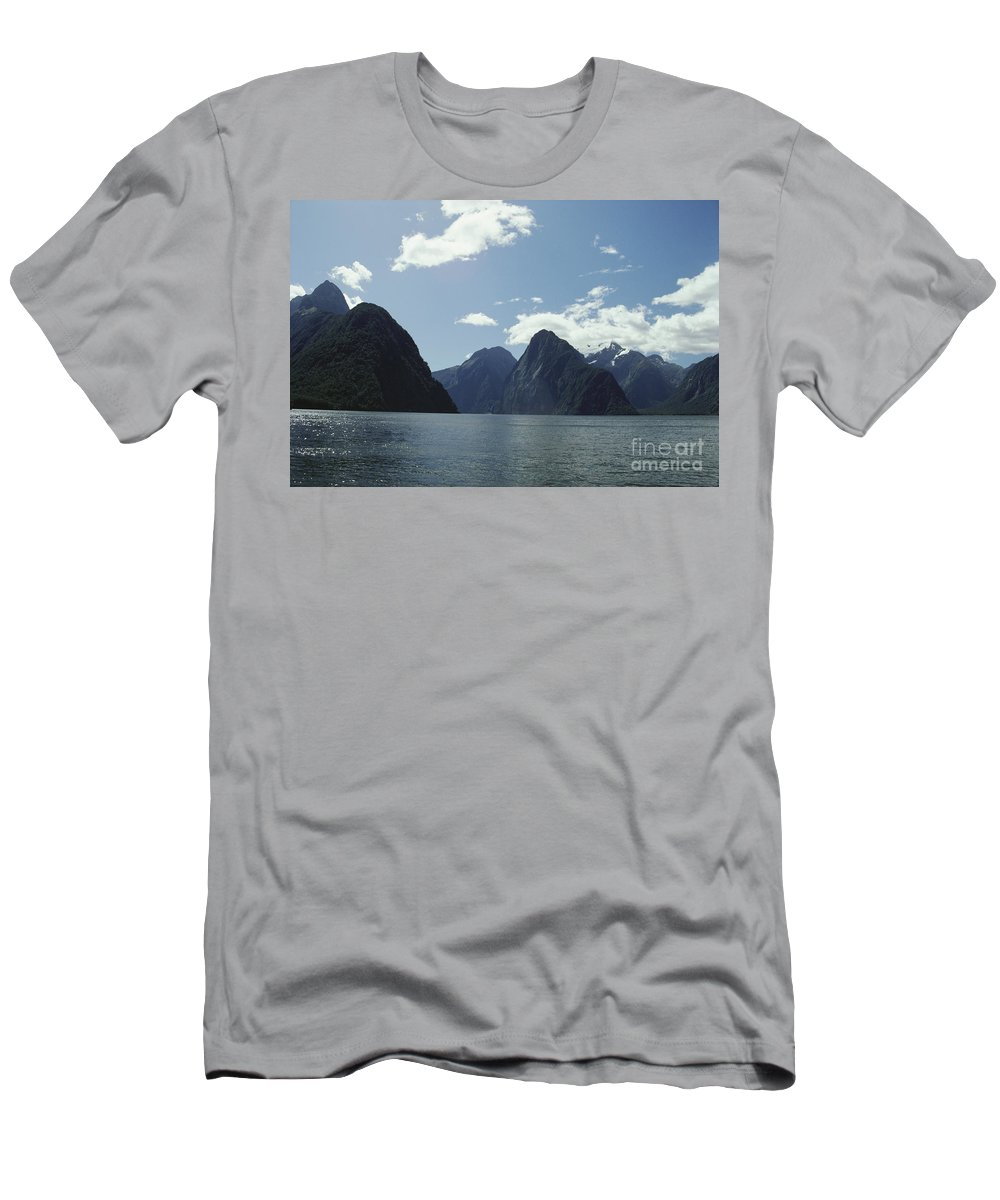 Bay Men's T-Shirt (Athletic Fit) featuring the photograph Milford Sound by Mary Van de Ven - Printscapes