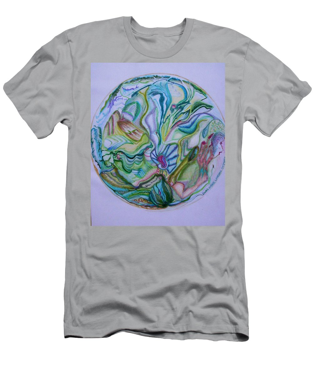 Abstract Men's T-Shirt (Athletic Fit) featuring the drawing Mind Mandala by Suzanne Udell Levinger