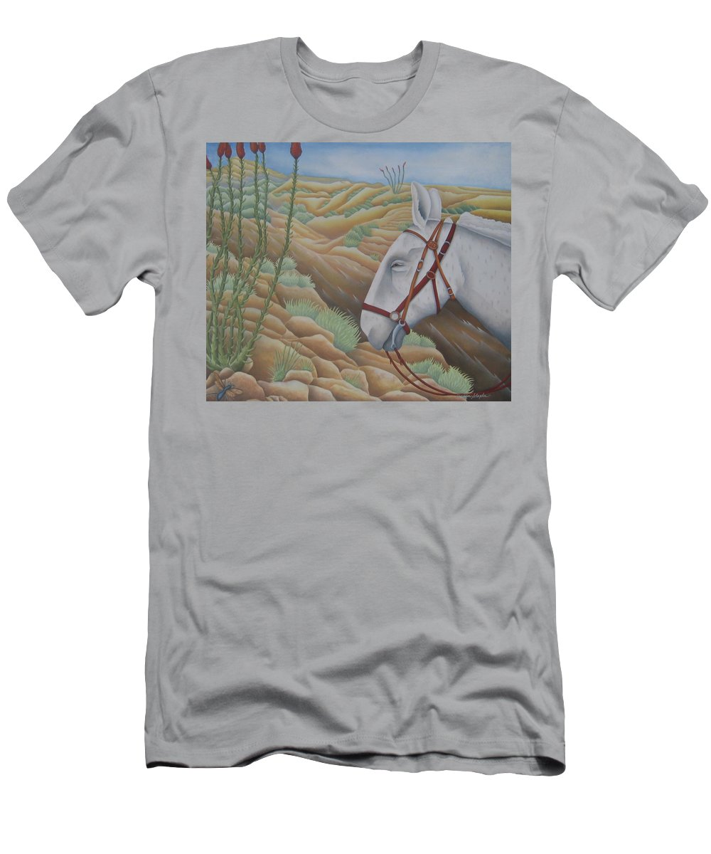 Burro Men's T-Shirt (Athletic Fit) featuring the painting Miner's Companion by Jeniffer Stapher-Thomas