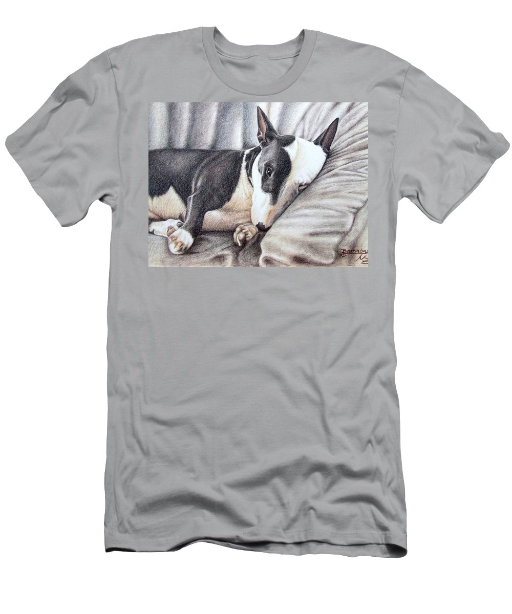 Dog Men's T-Shirt (Athletic Fit) featuring the drawing Mini Bulldog Terrier by Nicole Zeug