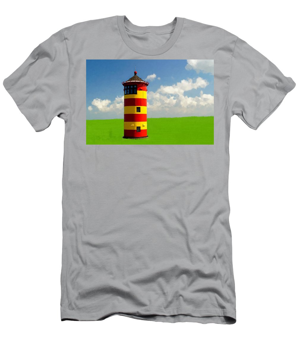 Lighthouse Men's T-Shirt (Athletic Fit) featuring the painting Minimalist Lighthouse by Bruce Nutting