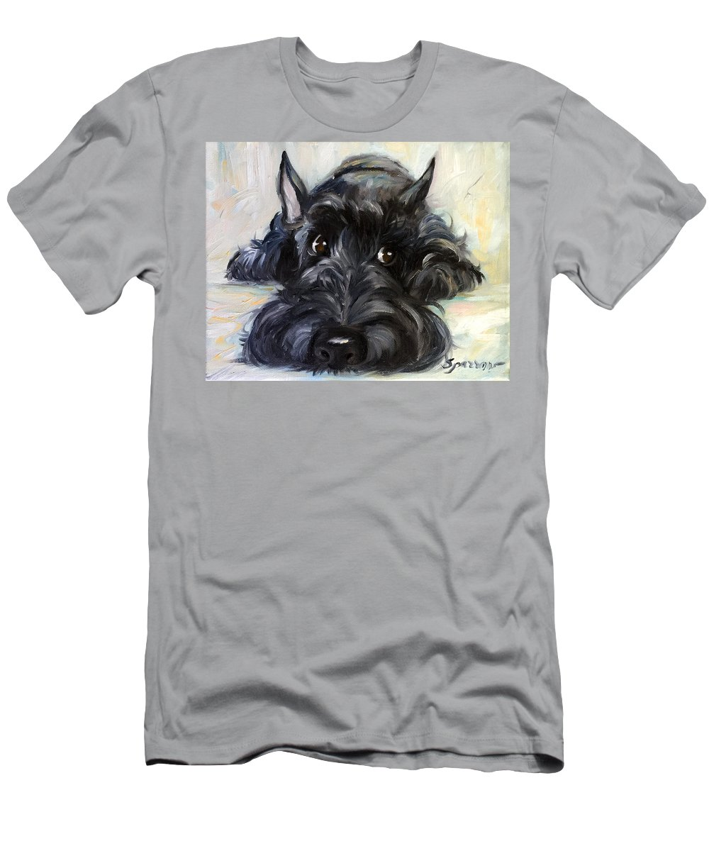 Scottie T-Shirt featuring the painting Mischief by Mary Sparrow