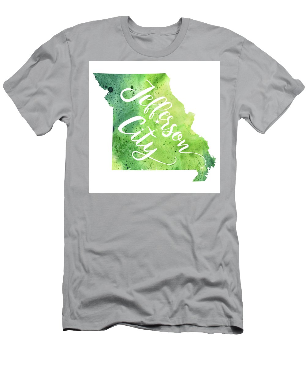 Painting Men's T-Shirt (Athletic Fit) featuring the painting Missouri Watercolor Map - Jefferson City Hand Lettering by Andrea Hill