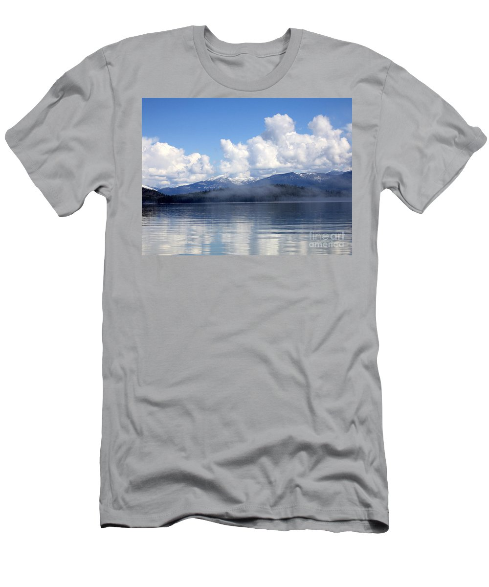 Priest Lake Men's T-Shirt (Athletic Fit) featuring the photograph Mist Over Priest Lake by Carol Groenen