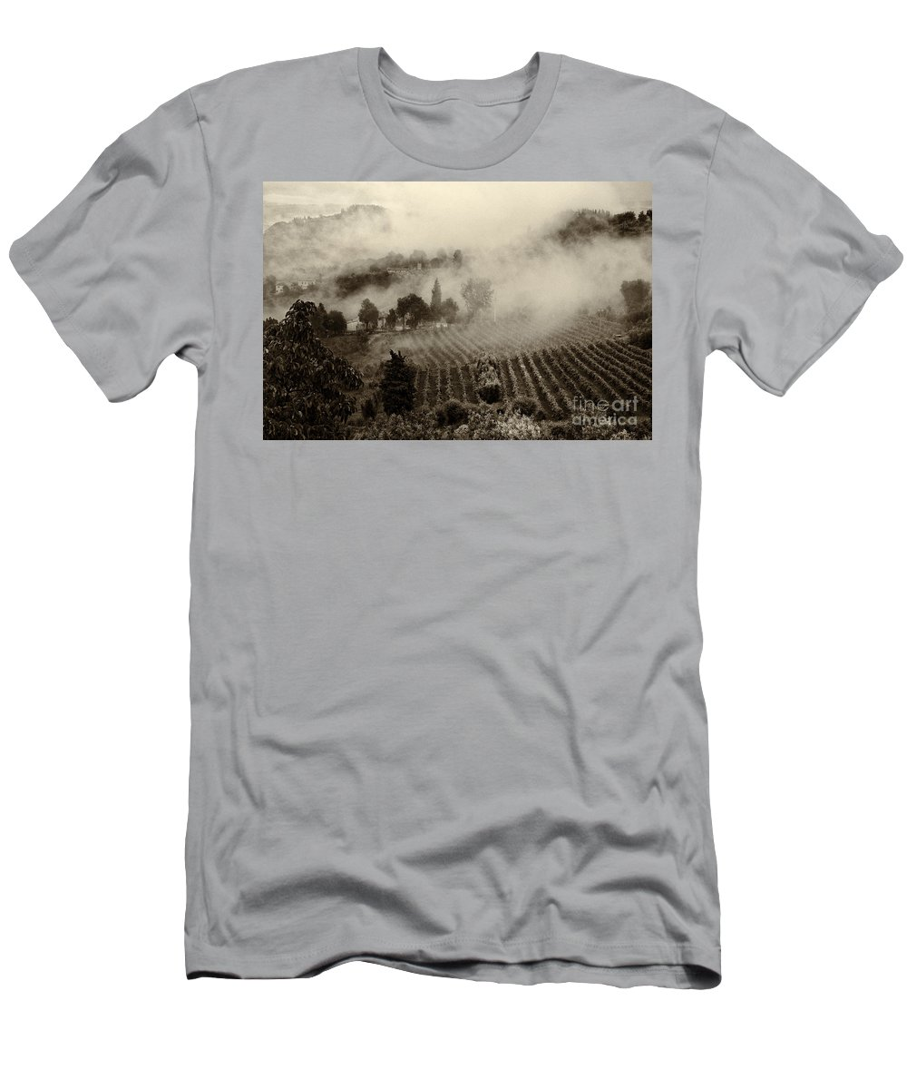 Tuscany Men's T-Shirt (Athletic Fit) featuring the photograph Misty Morning by Silvia Ganora