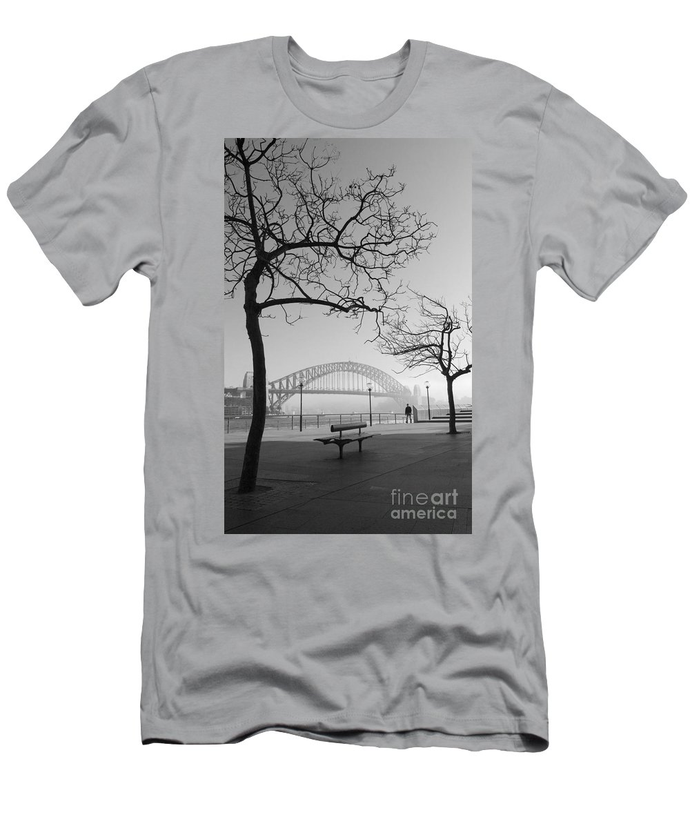 Sydney Harbour Bridge Mist Australia Men's T-Shirt (Athletic Fit) featuring the photograph Misty Sydney Morning by Sheila Smart Fine Art Photography