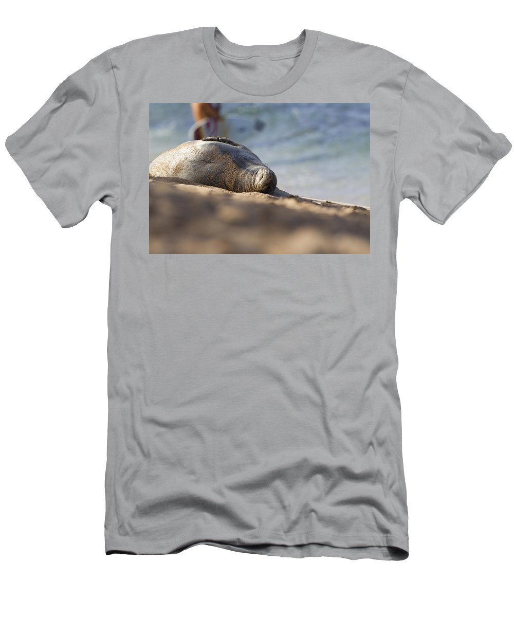Seal Men's T-Shirt (Athletic Fit) featuring the photograph Monk Seal Basking. by Michael Sangiolo