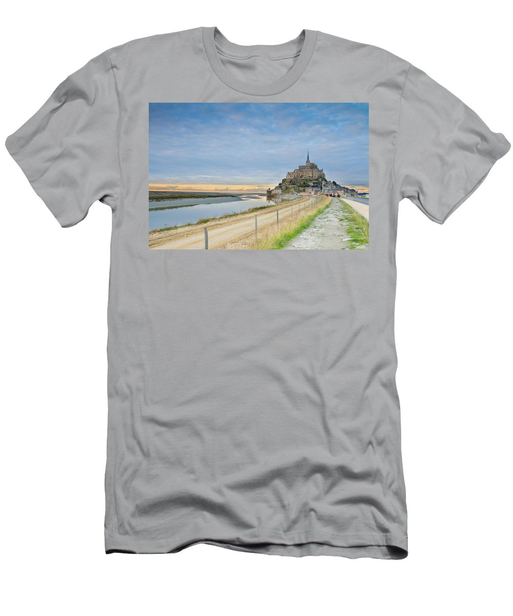 Europe Men's T-Shirt (Athletic Fit) featuring the photograph Mont St Michel At Sunset by Anastasy Yarmolovich