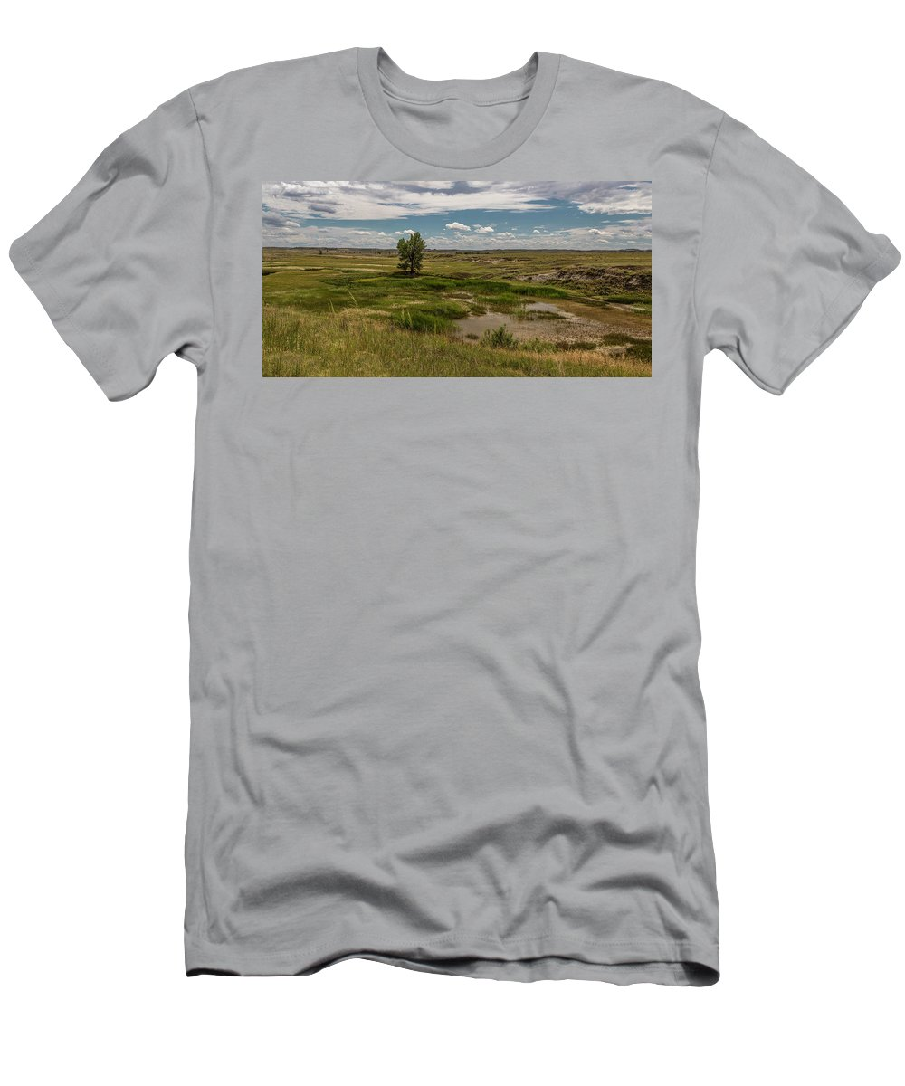 Montana Men's T-Shirt (Athletic Fit) featuring the photograph Montana Country And Tree by John McGraw