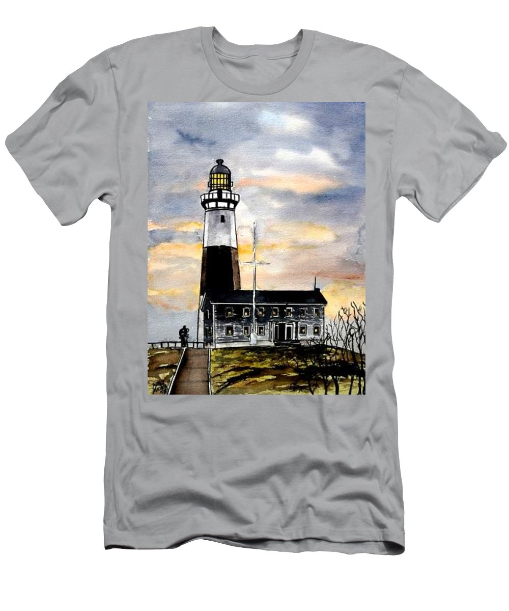 Montauk Point Men's T-Shirt (Athletic Fit) featuring the painting Montauk Point Lighthouse by Derek Mccrea