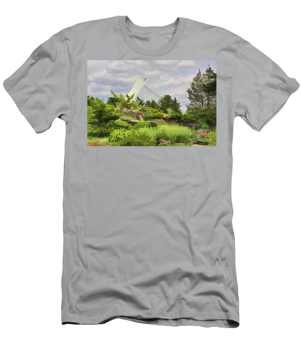 Montreal Men's T-Shirt (Athletic Fit) featuring the photograph Montreal Biodome Backdrop by Deborah Benoit
