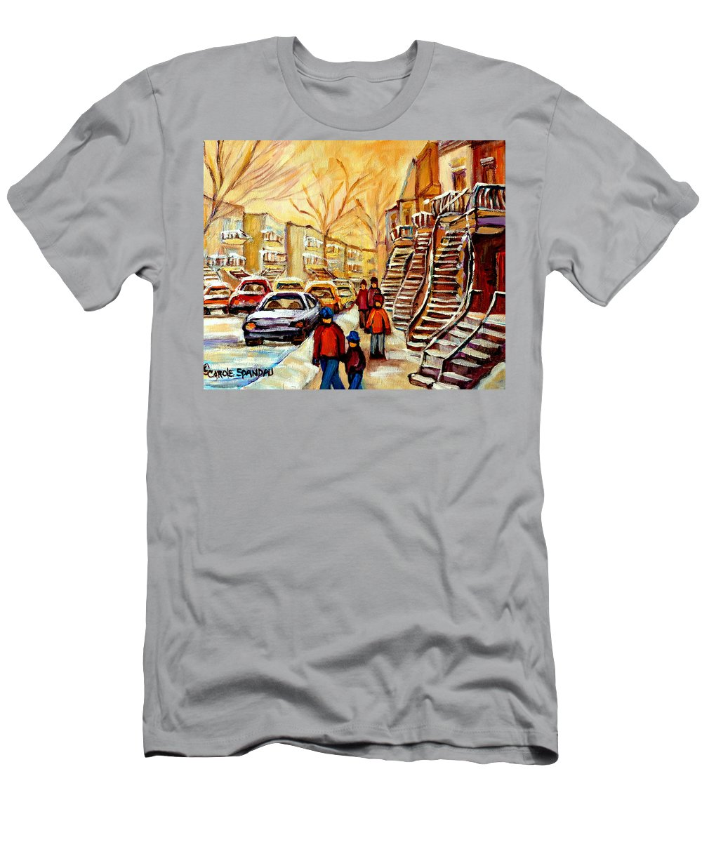 Montreal Men's T-Shirt (Athletic Fit) featuring the painting Montreal City Scene In Winter by Carole Spandau