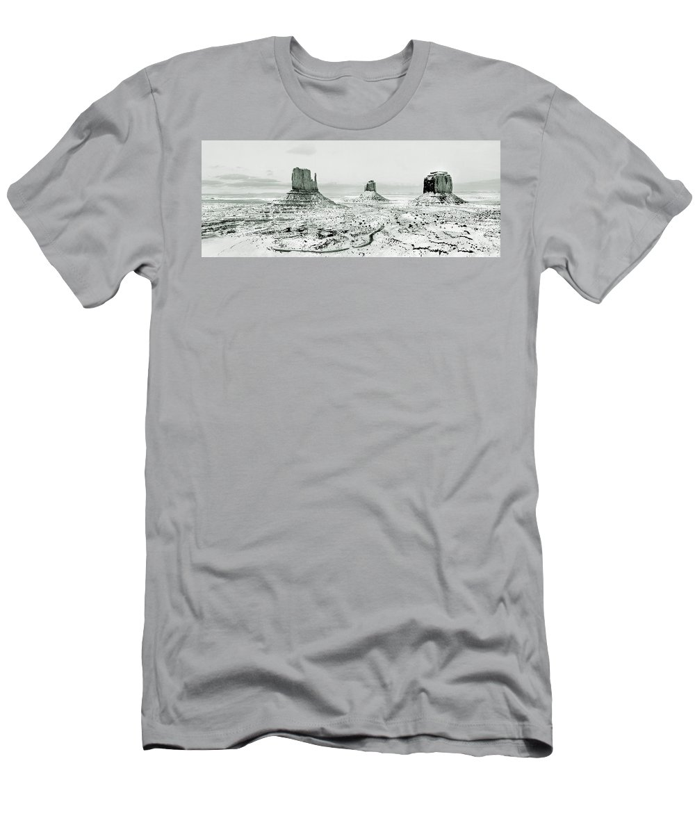 Monument Valley Men's T-Shirt (Athletic Fit) featuring the photograph Monument Valley, Winter by Scott Griswold