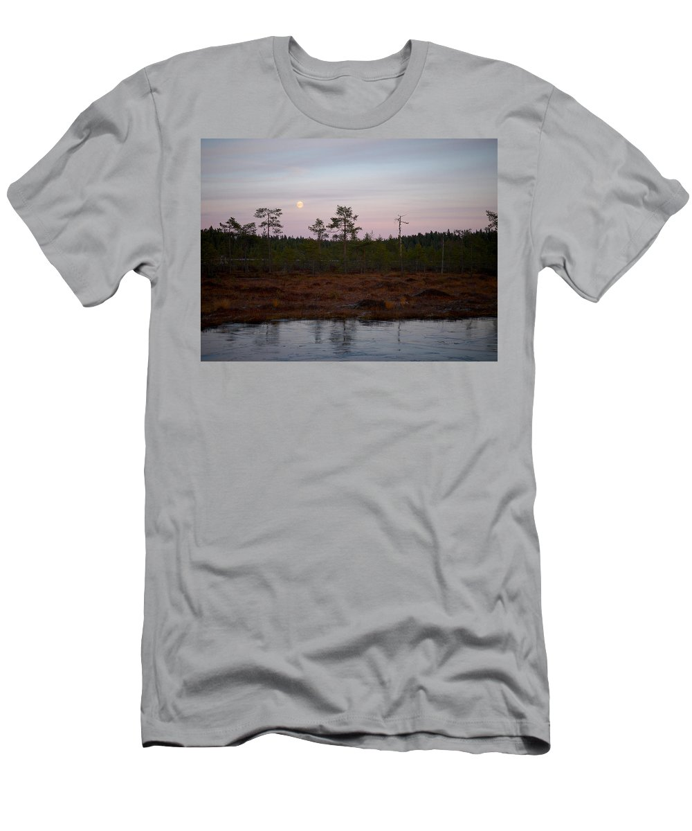 Lehtokukka Men's T-Shirt (Athletic Fit) featuring the photograph Moon Over Wetlands by Jouko Lehto