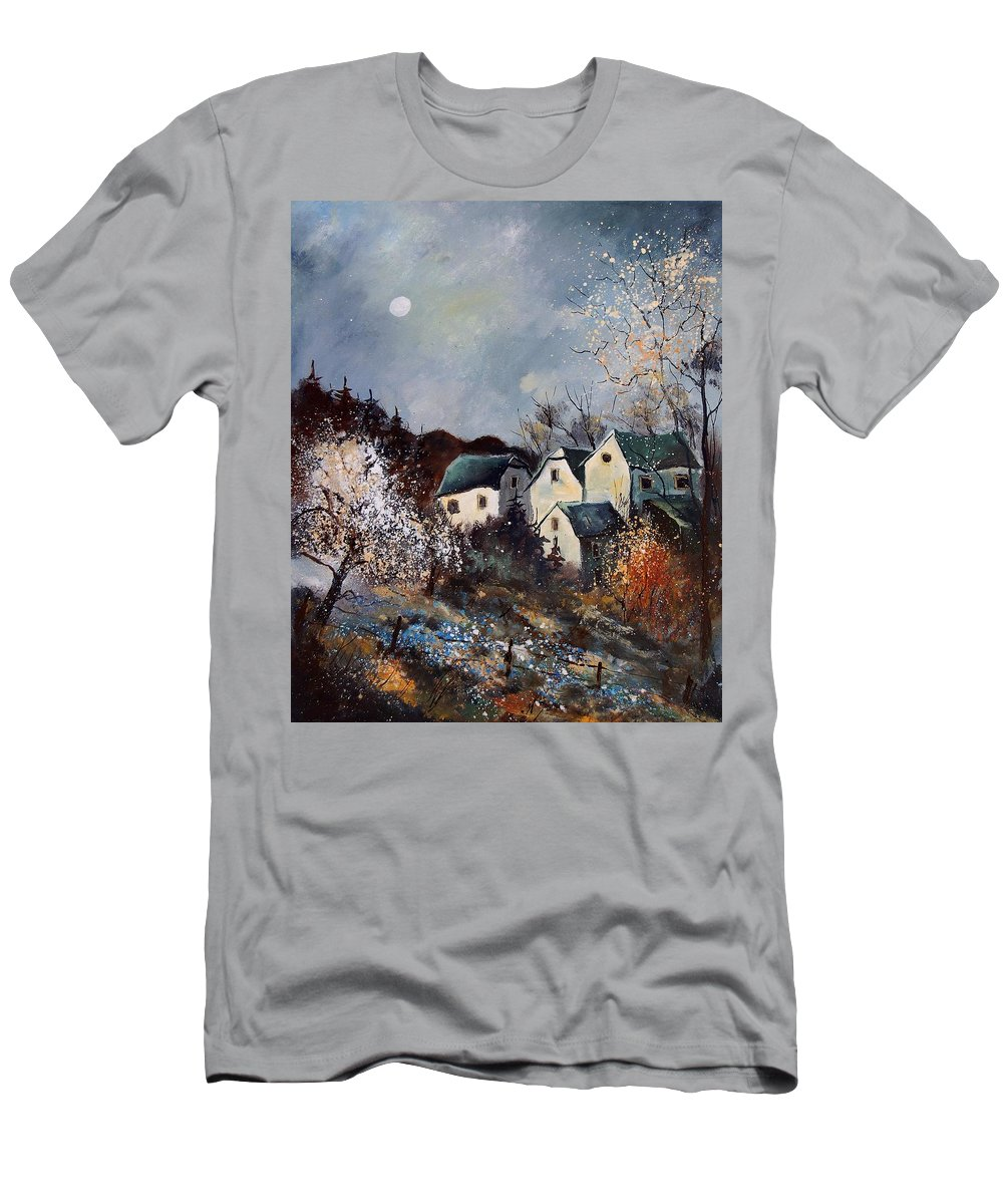 Village Men's T-Shirt (Athletic Fit) featuring the painting Moonshine by Pol Ledent