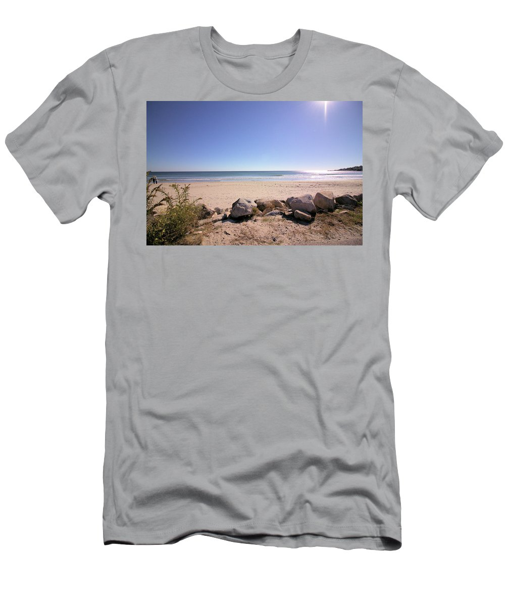 Beach Men's T-Shirt (Athletic Fit) featuring the photograph Morning At Qgunquit Beach 2. by Robert McCulloch
