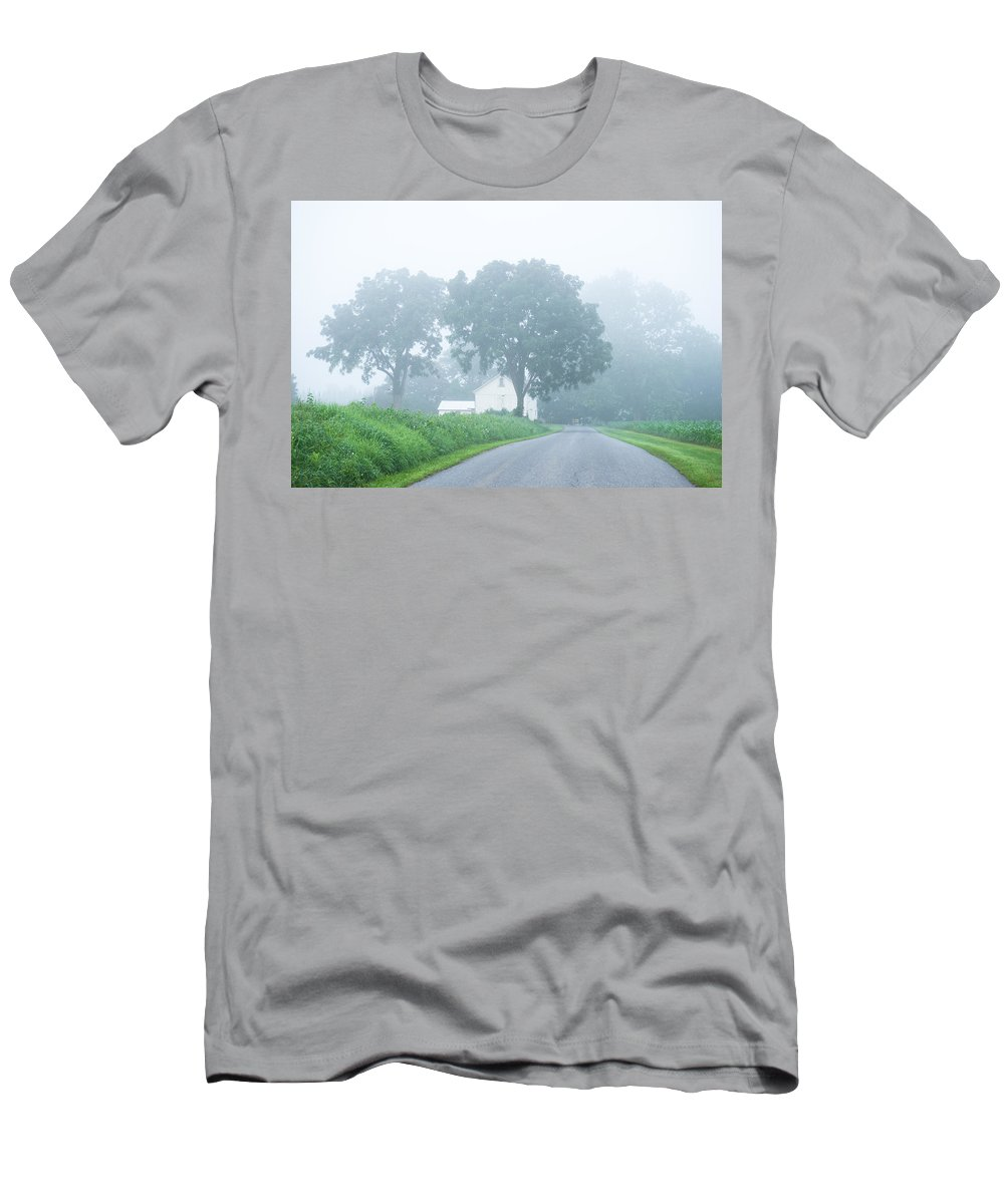 Mornign Men's T-Shirt (Athletic Fit) featuring the photograph Morning Fog by Seth Dochter