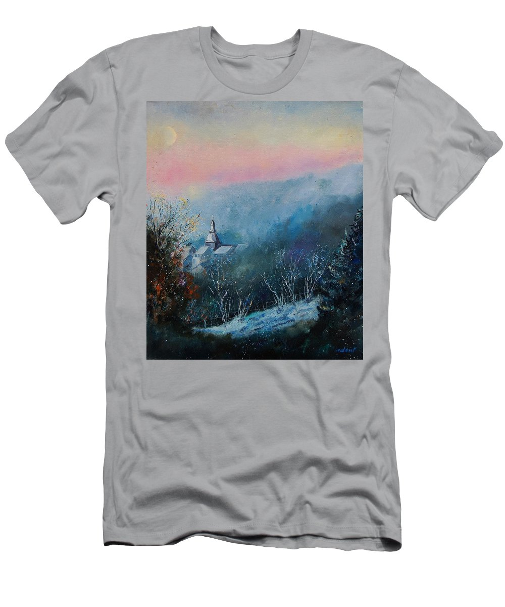 Winter Men's T-Shirt (Athletic Fit) featuring the painting Morning Frost by Pol Ledent