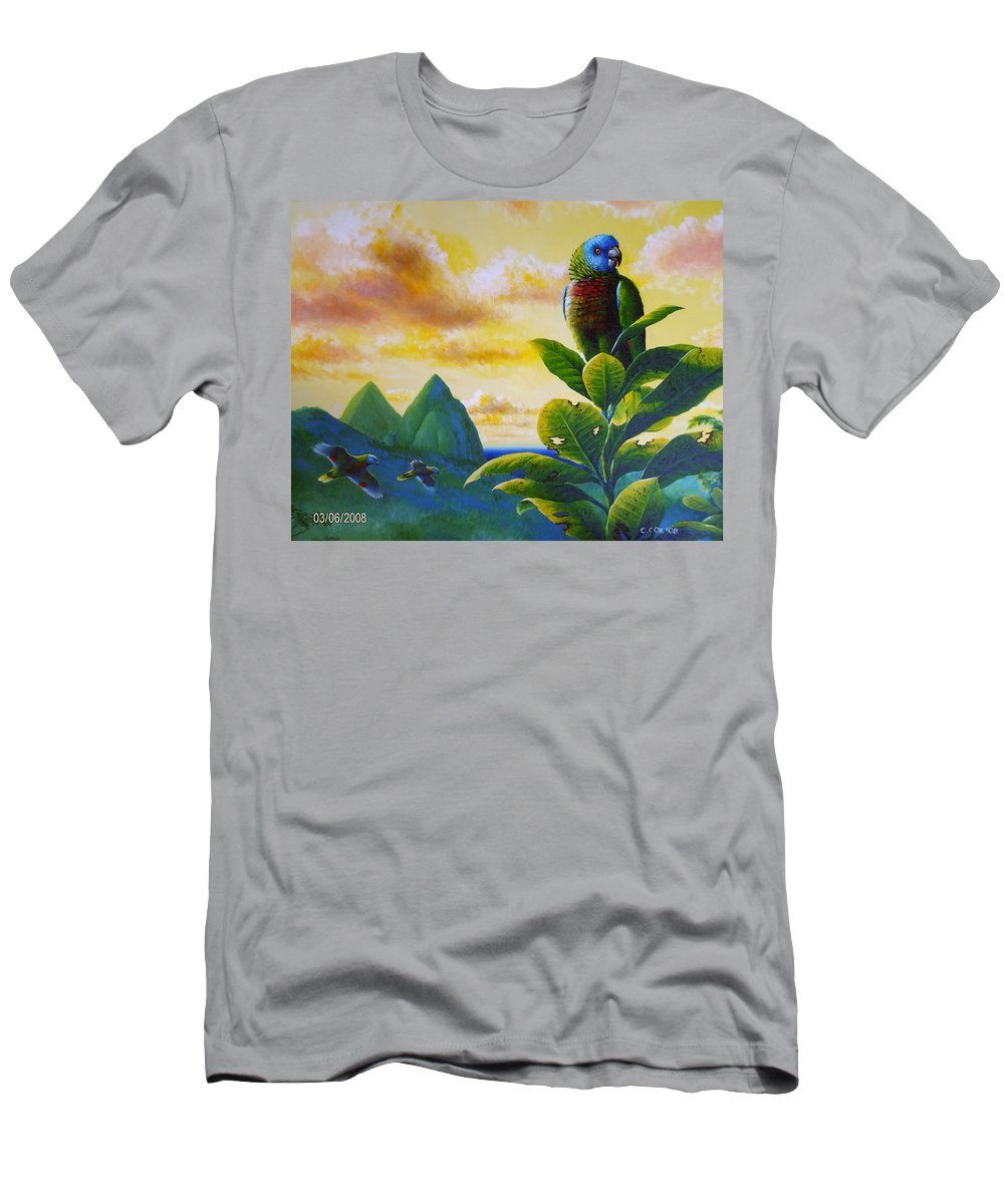 Chris Cox Men's T-Shirt (Athletic Fit) featuring the painting Morning Glory - St. Lucia Parrots by Christopher Cox