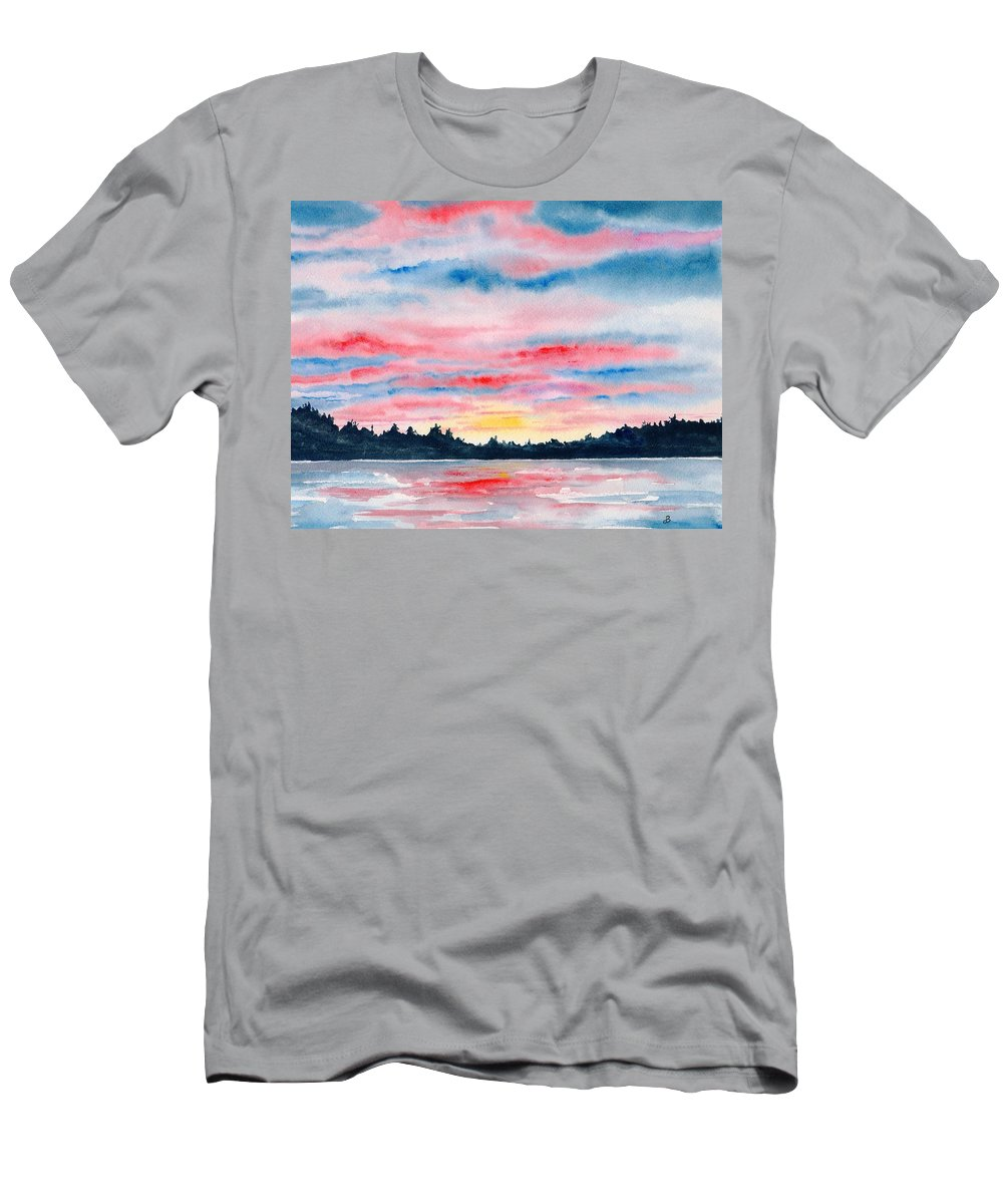 Watercolor Men's T-Shirt (Athletic Fit) featuring the painting Morning Glory by Brenda Owen