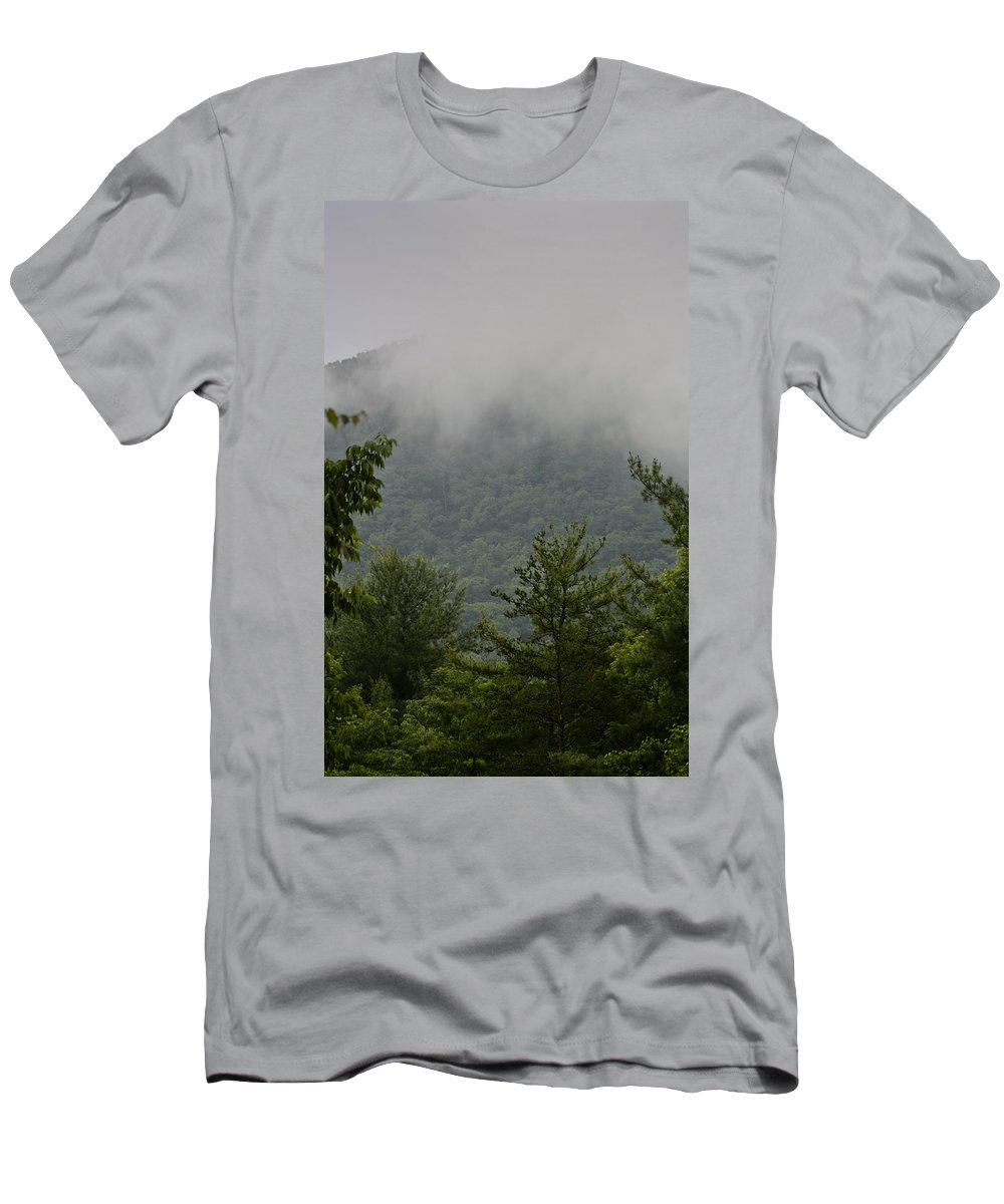 Bluestone Men's T-Shirt (Athletic Fit) featuring the photograph Morning Mist Bluestone State Park West Virginia by Teresa Mucha
