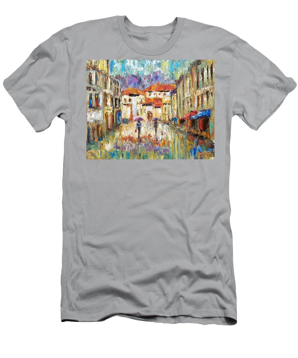 Landscape Men's T-Shirt (Athletic Fit) featuring the painting Morning Rain by Debra Hurd