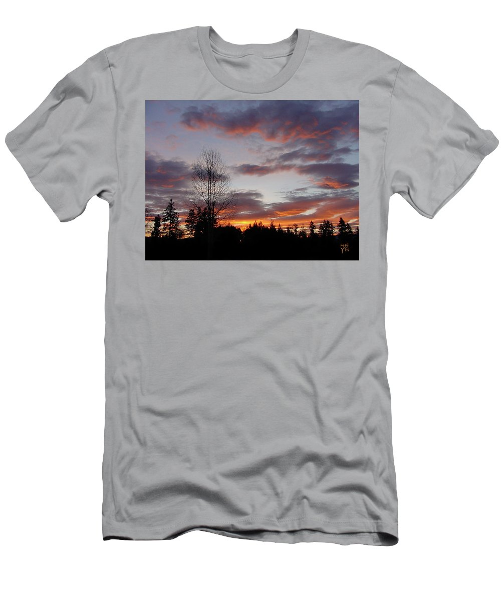 Sun Men's T-Shirt (Athletic Fit) featuring the photograph Morning Silhouetted - 1 by Shirley Heyn