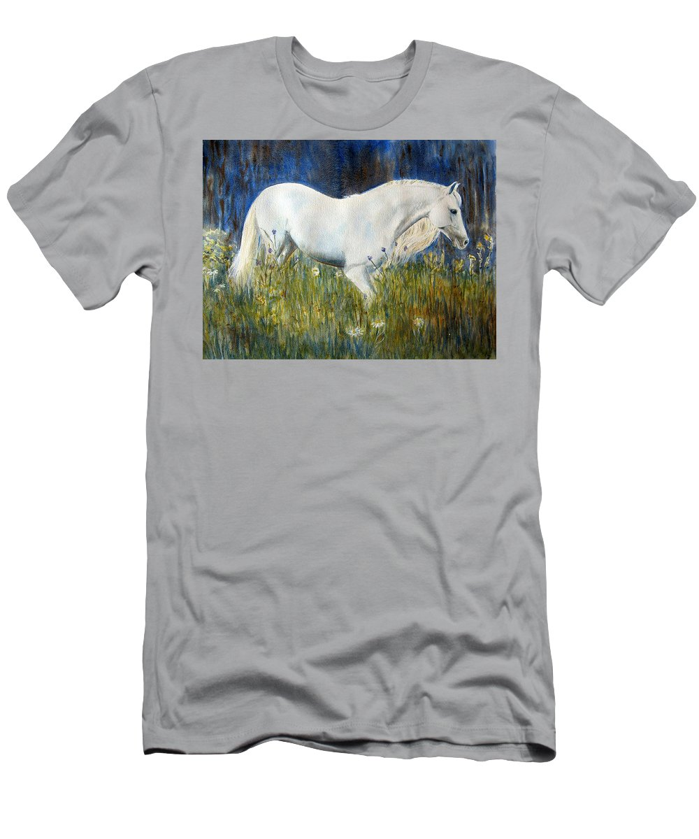 Horse Painting Men's T-Shirt (Athletic Fit) featuring the painting Morning Walk by Frances Gillotti