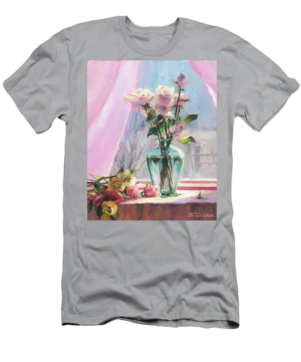 Flowers Men's T-Shirt (Athletic Fit) featuring the painting Morning's Glory by Steve Henderson