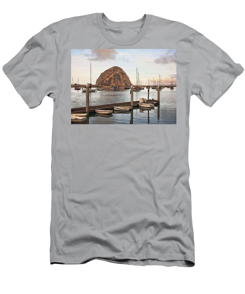Morro Bay Men's T-Shirt (Athletic Fit) featuring the digital art Morro Bay Small Pier by Sharon Foster
