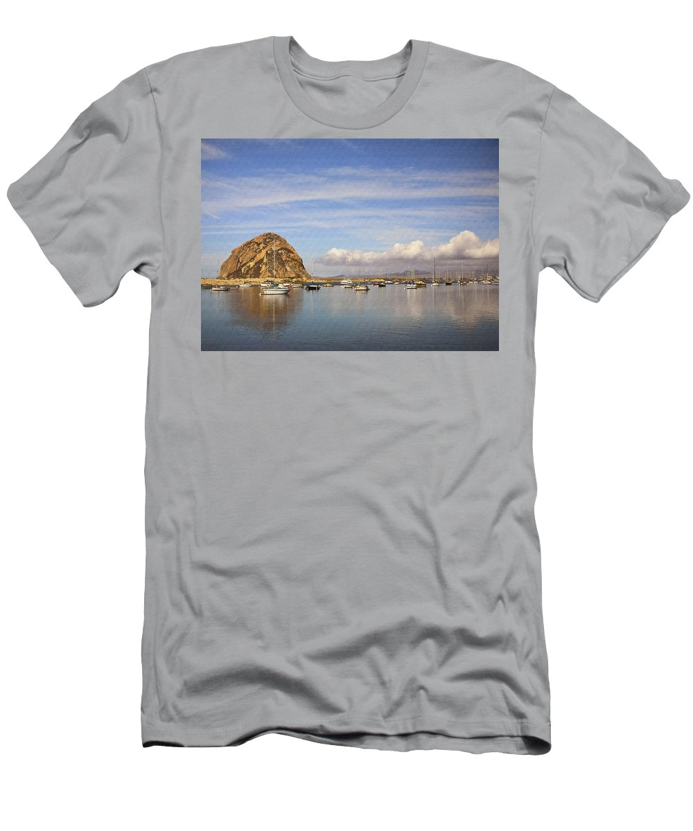 Morro Bay Men's T-Shirt (Athletic Fit) featuring the digital art Morro Harbor And Rain Clouds by Sharon Foster