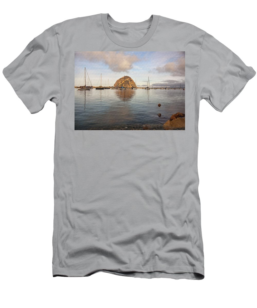 Morro Bay Men's T-Shirt (Athletic Fit) featuring the digital art Morro Rocks by Sharon Foster