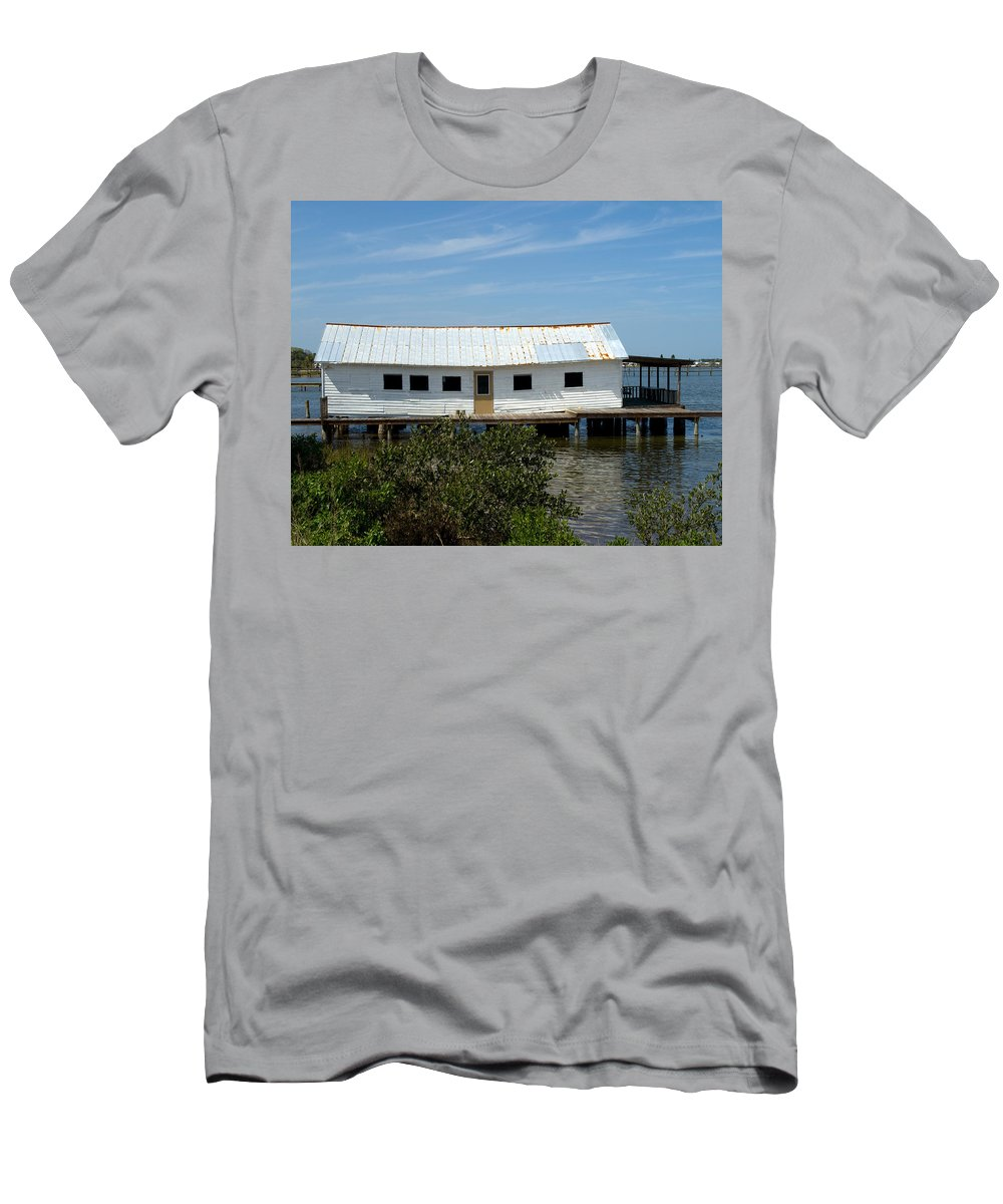 Florida; Oak; Hill; Mosquito; Lagoon; Old; Abandoned; Fish; House; Processing; Dock; Pier; Wharf; Bo Men's T-Shirt (Athletic Fit) featuring the photograph Mosquito Lagoon Florida by Allan Hughes