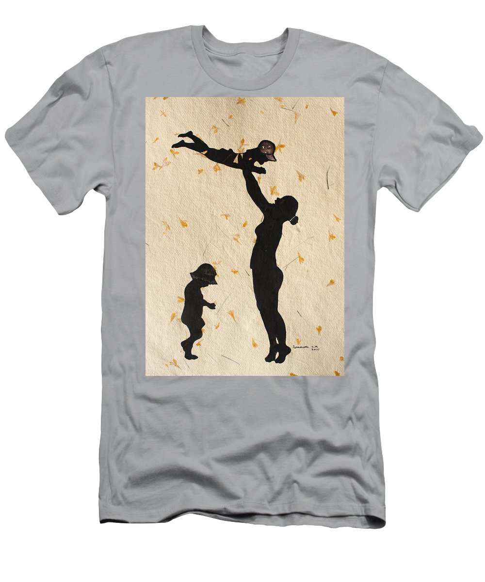 Mother With Children Are Playing Men's T-Shirt (Athletic Fit) featuring the painting Mother With Children by Santhosh Ch