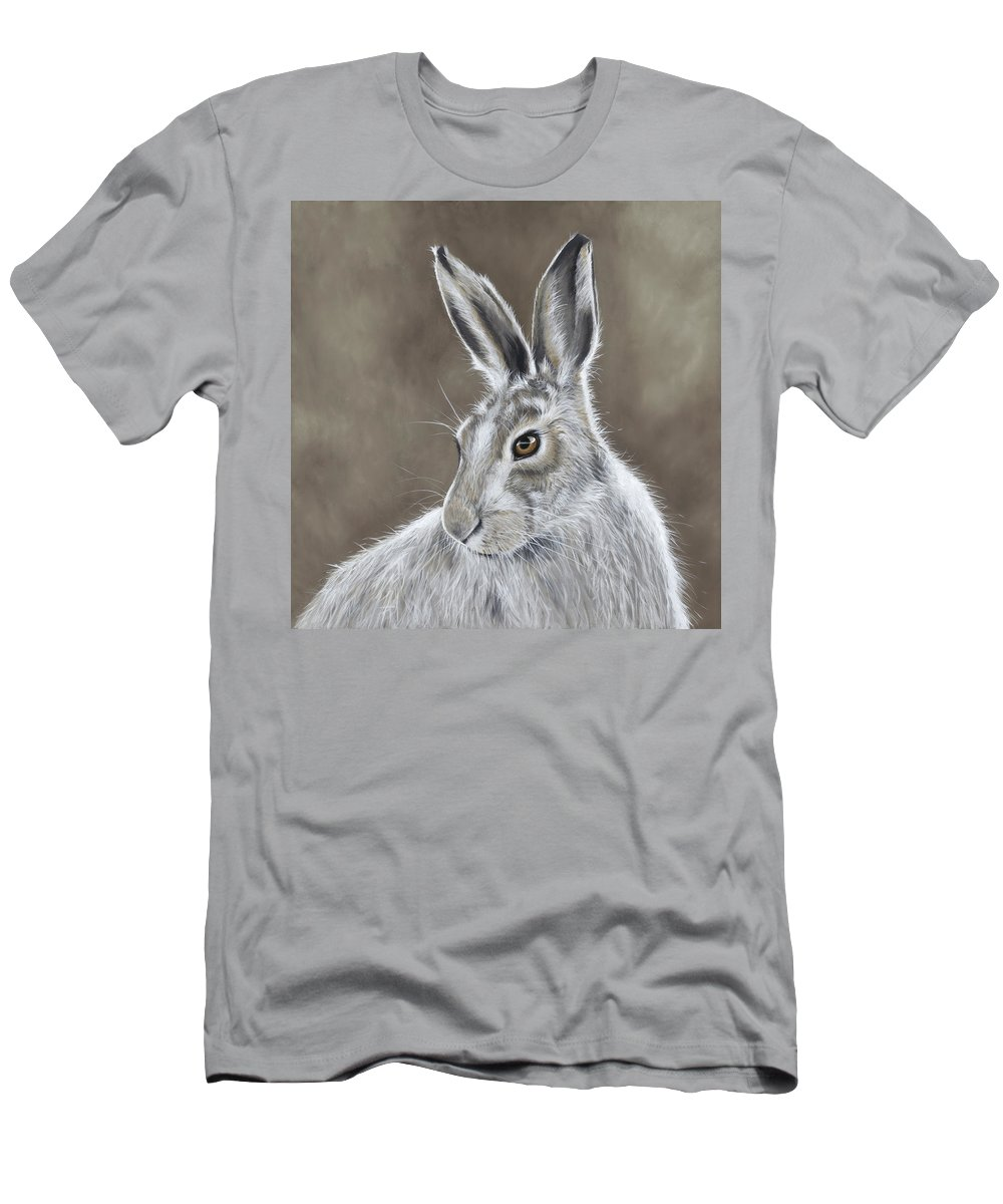 Hare Men's T-Shirt (Athletic Fit) featuring the painting Mountain Hare by Nicola Colbran