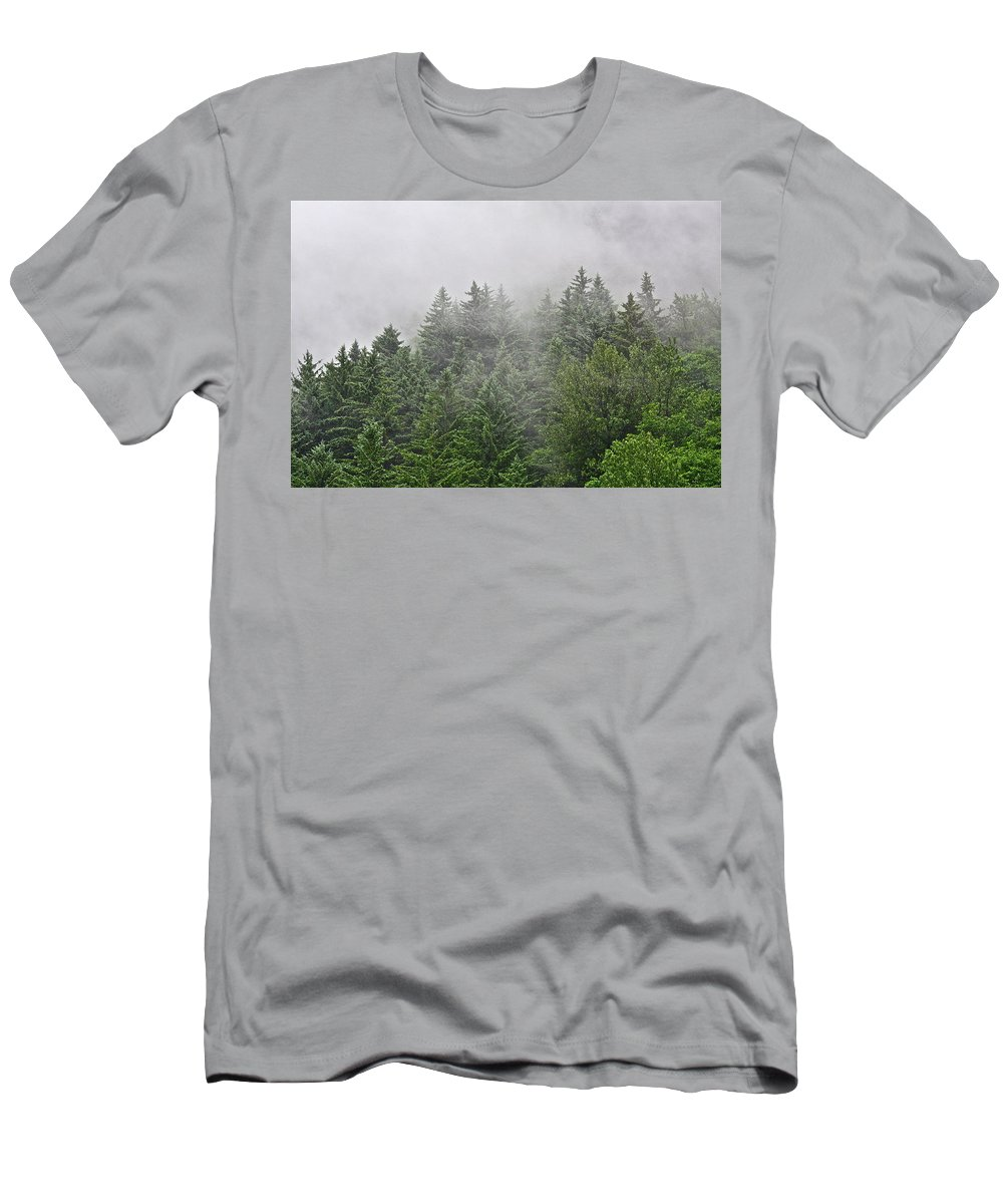 Trees Men's T-Shirt (Athletic Fit) featuring the photograph Mountain Mist by Diana Hatcher