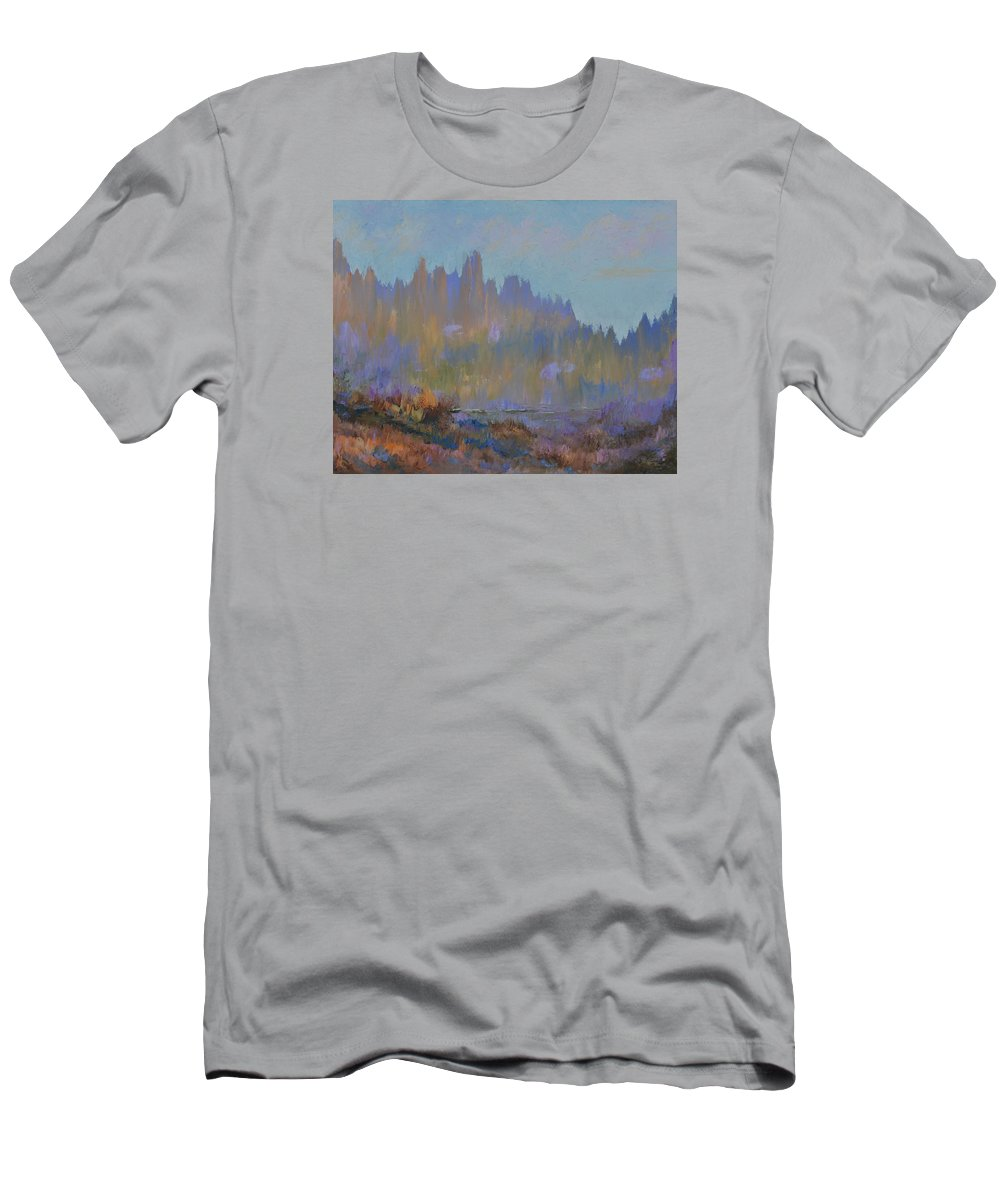 Mountains Men's T-Shirt (Athletic Fit) featuring the painting Mountain Pond by Michael LaZar