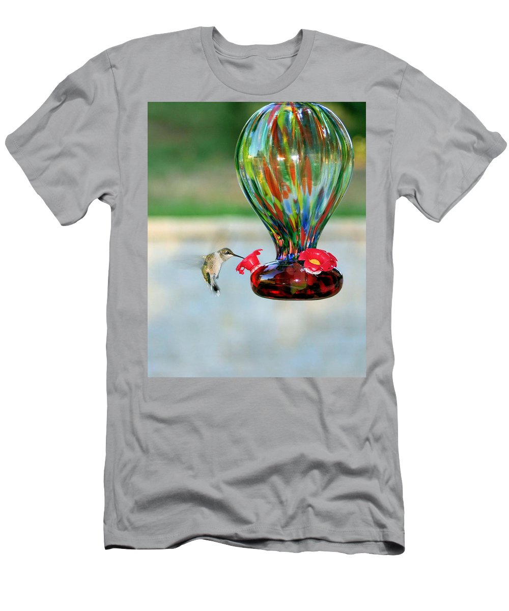 Hummingbird Men's T-Shirt (Athletic Fit) featuring the photograph Mrs. Hummer by Kristin Elmquist