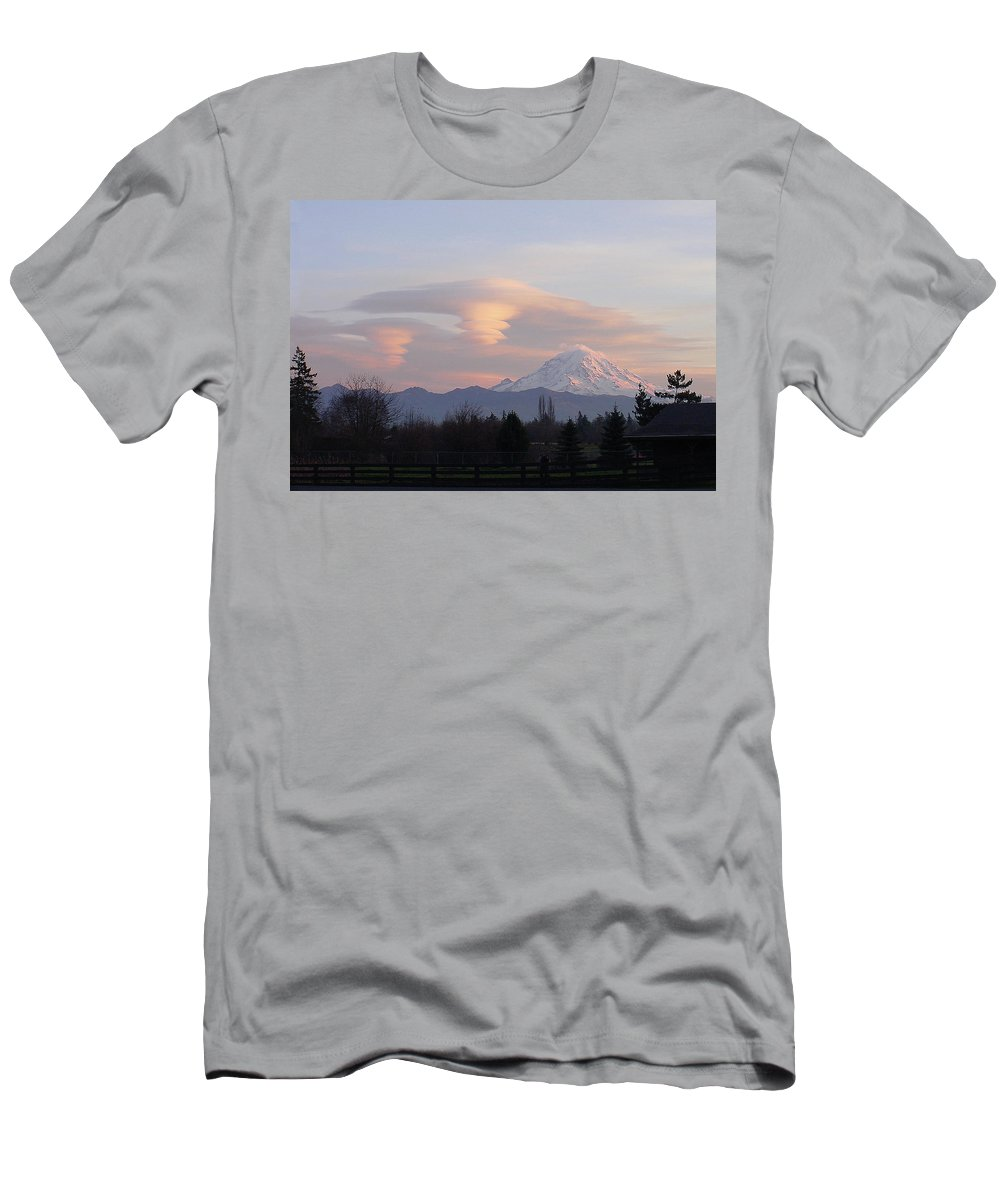 Mountain Men's T-Shirt (Athletic Fit) featuring the photograph Mt Rainier Lenticular Funnels by Shirley Heyn